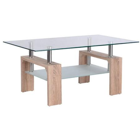 Costway Rectangular Glass Coffee Table Wood w/ Shelf ,tea table,Living Room ()