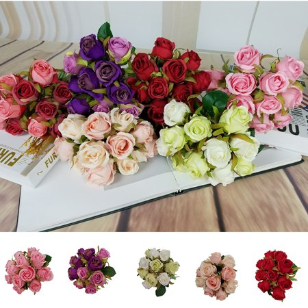 12 Heads Valentine's Day Artificial Fake Flowers Roses Floral Wedding Bouquet Party Home Decor Red - Dark Red Face