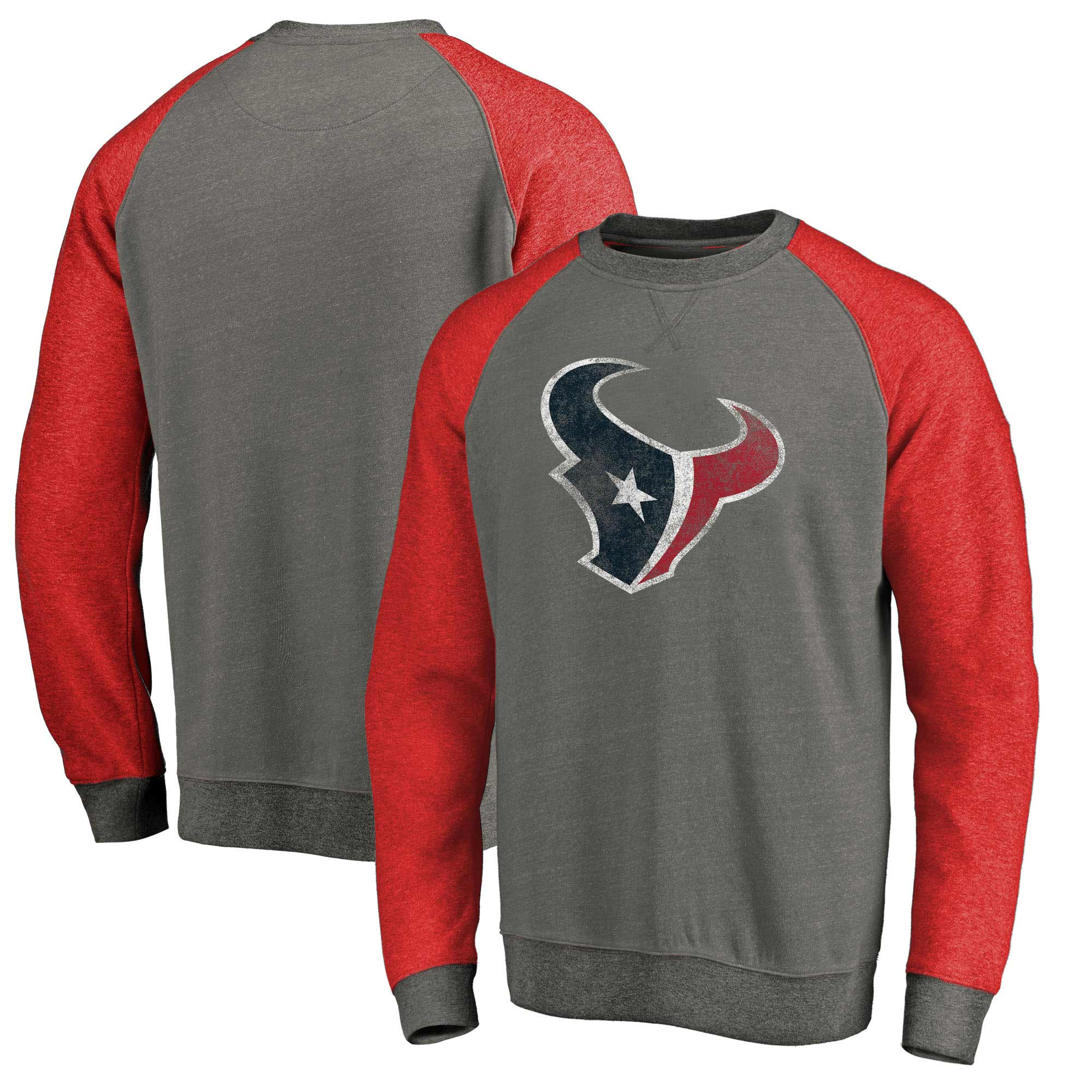 Houston Texans NFL Pro Line by Fanatics Branded Distressed Team Tri-Blend Pullover Sweatshirt - Heathered Gray/Red