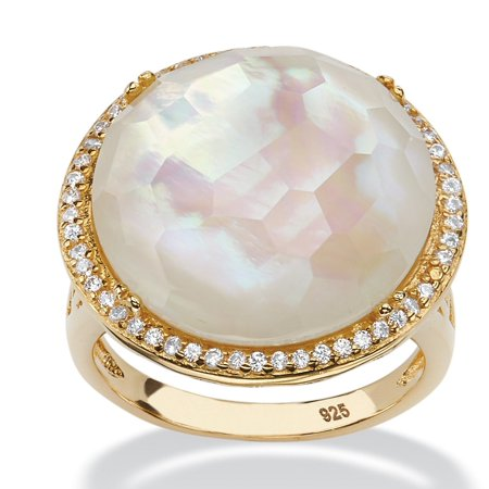 .27 TCW Mother-Of-Pearl and Pave CZ Accent 14k Gold over Sterling Silver Halo Cocktail Ring