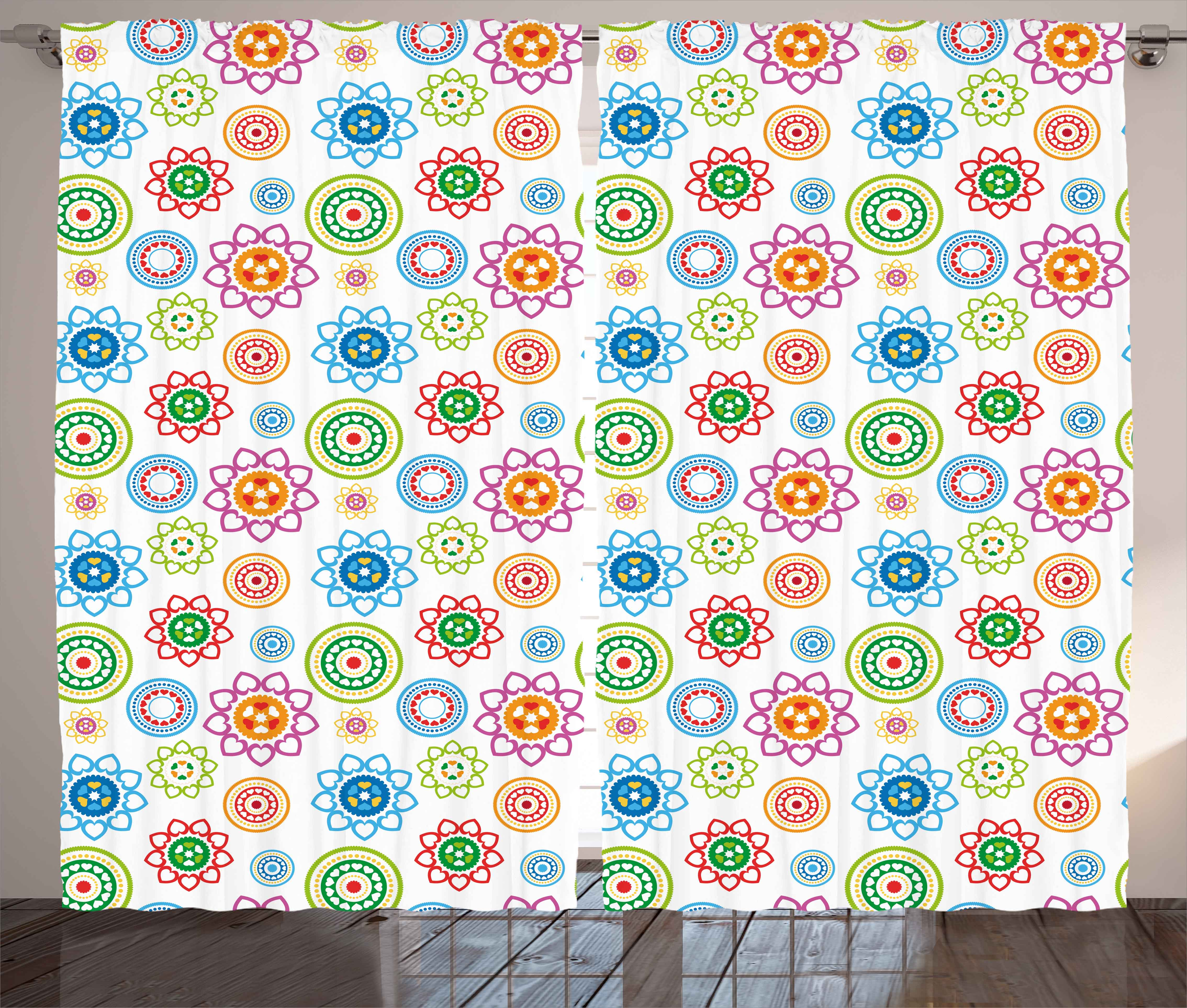 Modern Decor Curtains 2 Panels Set, Ethnic Colorful Indian Asian Inspired  Patterns With Flower Like