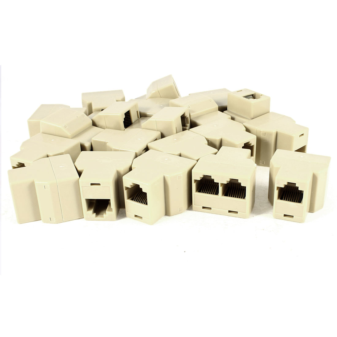 20 Pcs 2 Way RJ45 8P8C Female Network ADSL Splitter Adapter Connector Beige