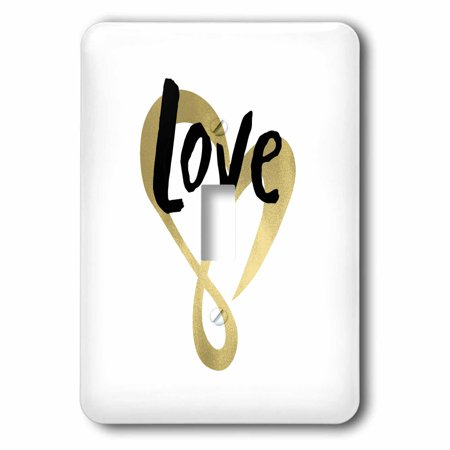 3dRose Gold Love Heart Single Toggle Switch