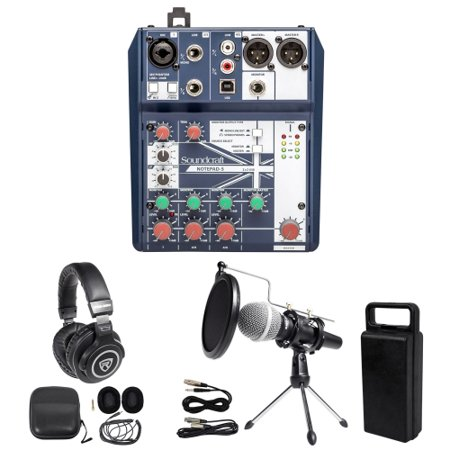 Gaming Twitch Stream Bundle w/ Soundcraft Mixer+Headphones+Mic+Stand