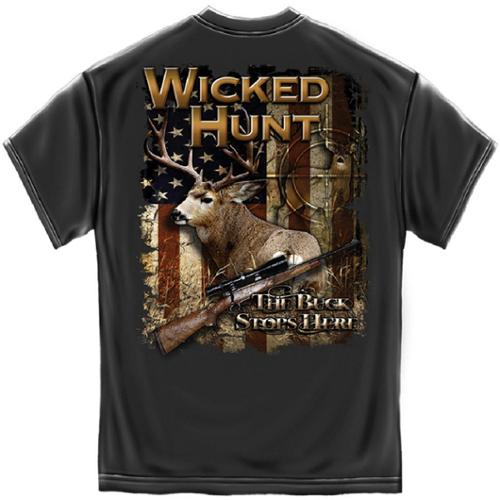 Wicked Hunt The Buck Stops Here Deer Hunting T-Shirt by Erazor Bits, Gray, 2XL