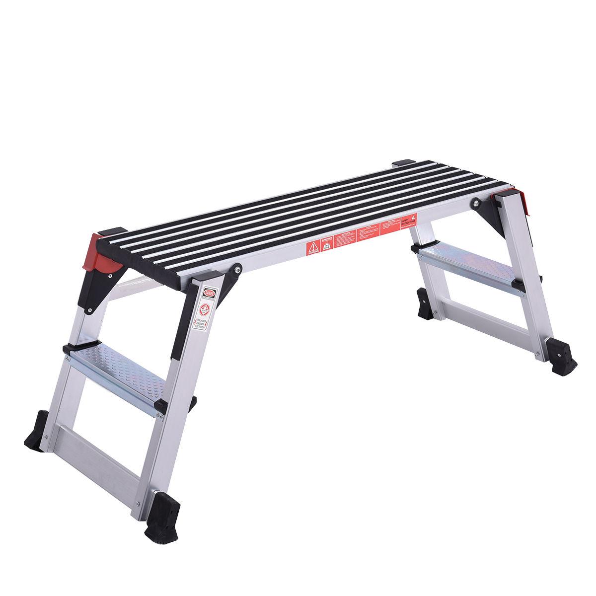 Costway Aluminum Step Stool Work Platform Folding Bench Drywall Ladder 330lbs Capacity