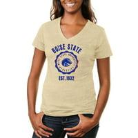 Boise State Broncos Women's Old-School Seal Tri-Blend V-Neck T-Shirt - White