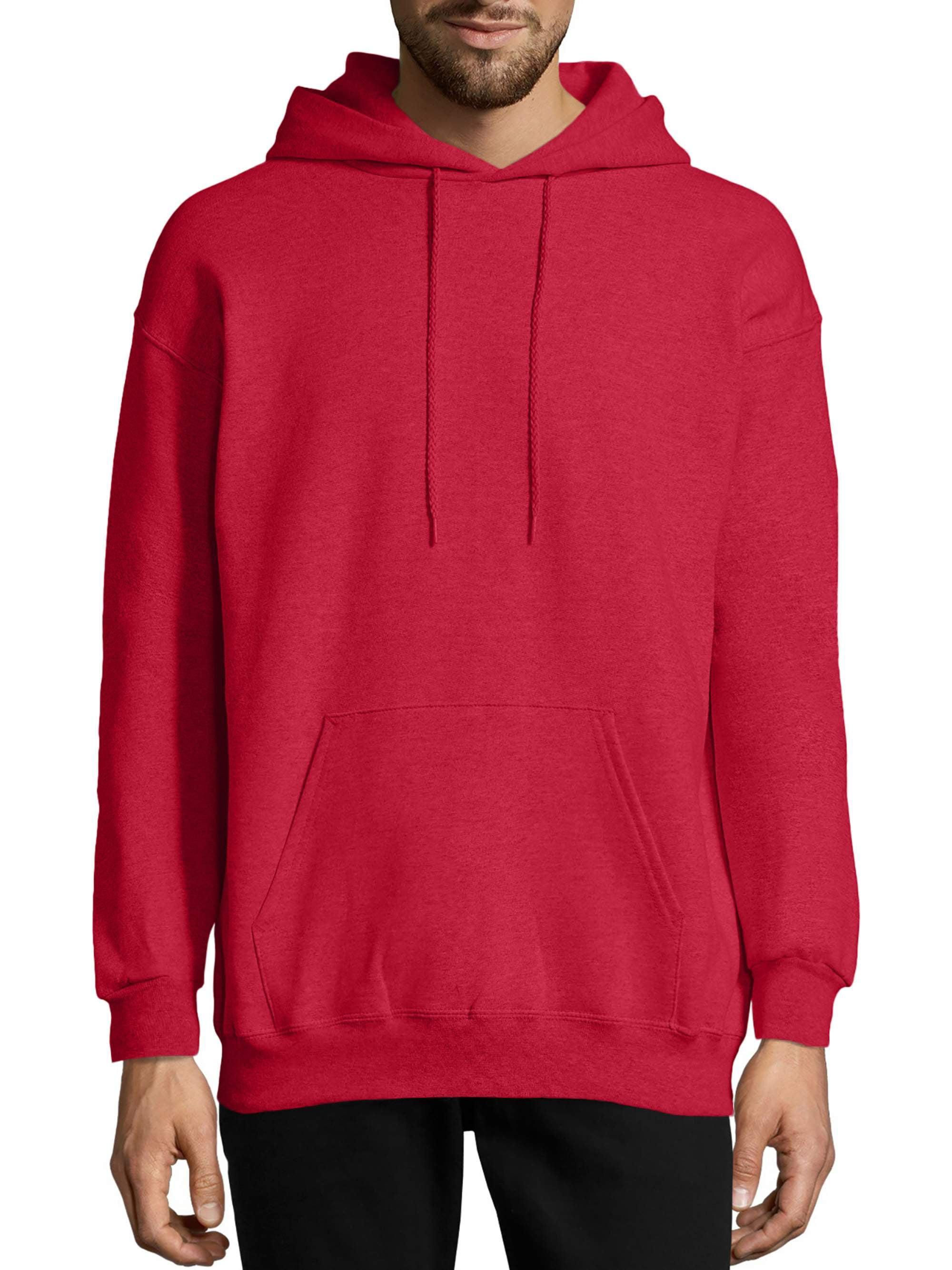 Hanes Mens EcoSmart Hooded Sweatshirt 2XL 1 Deep Red 1 Pale Pink