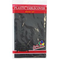 """Black  84"""" Round Plastic Disposable Party  Tablelcoth"""