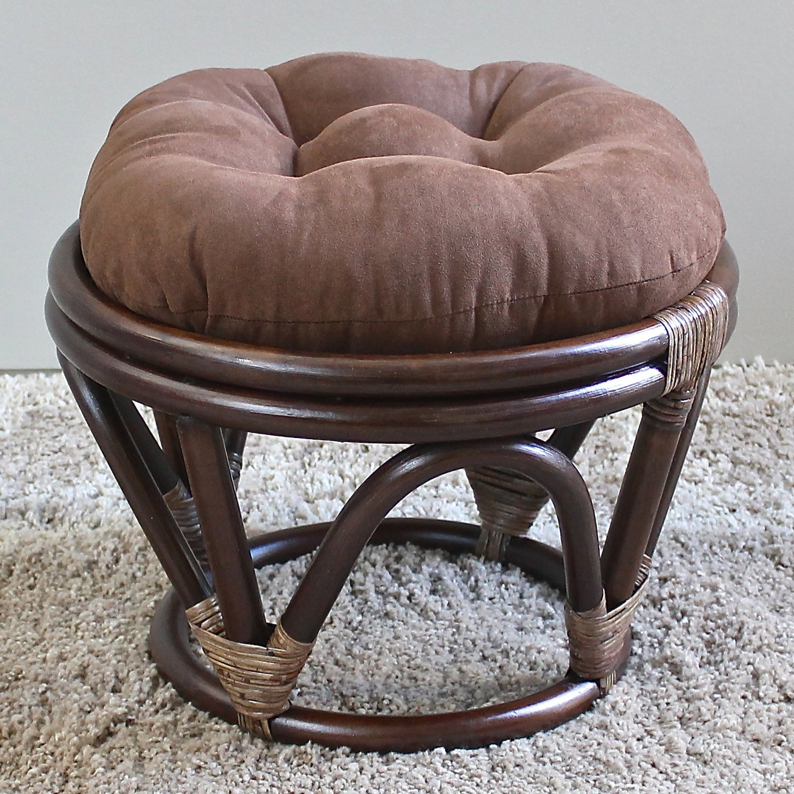International Caravan Papasan Stool with Micro Suede Cushion