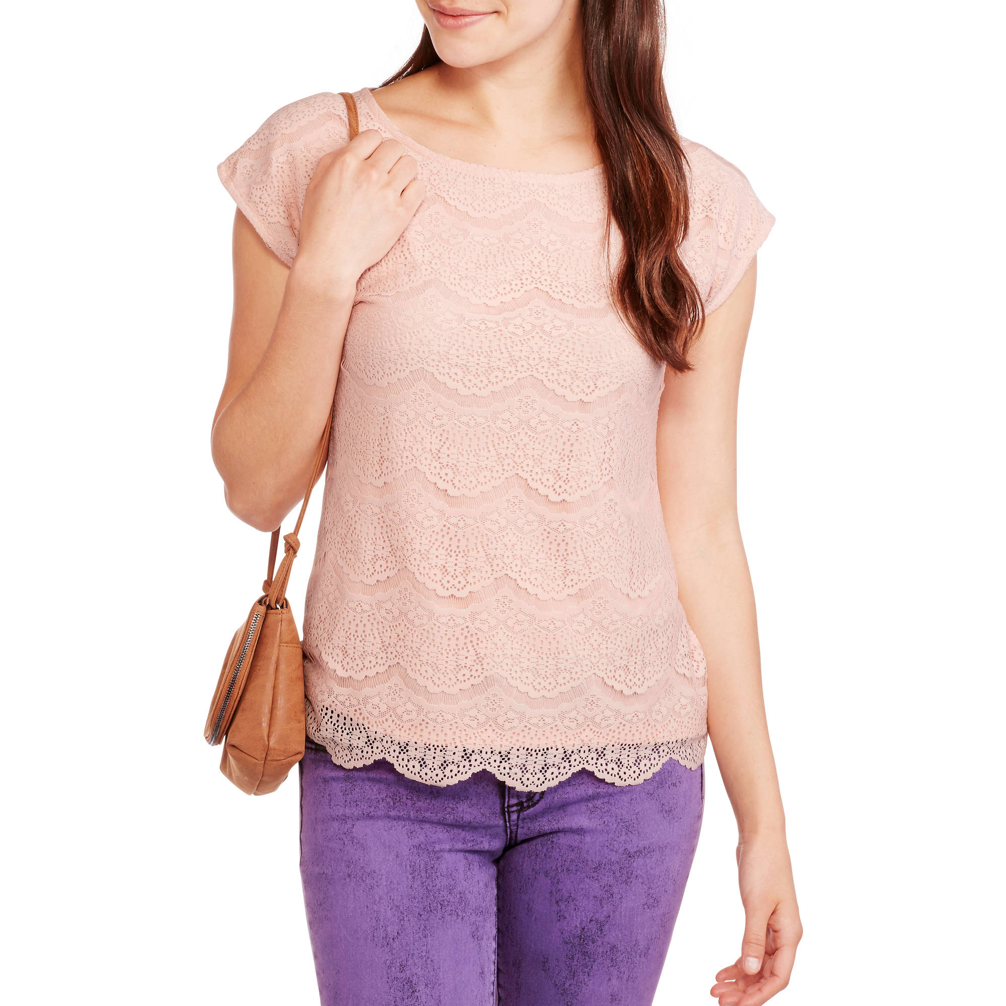 Faded Glory Women's Lace Front T-shirt