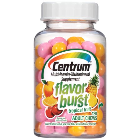 Centrum Flavor Burst Tropical Fruit Multivitamin Multimineral Supplement Adult Chews  120 Count