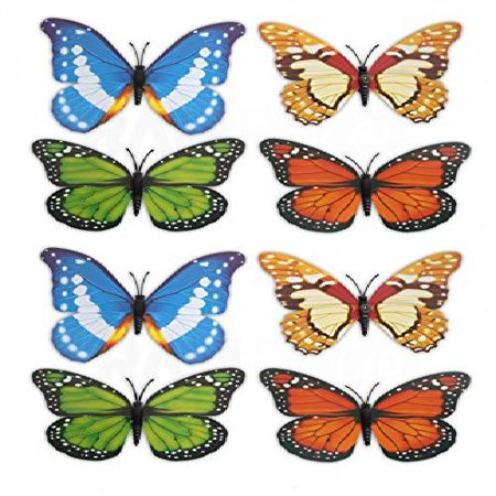 8 pc RAM-PRO Beautiful Large Colorful & Realistic 3-D Design Assorted Butterflies For Refregirator Cabinets Windows Girls Room Garden Locker