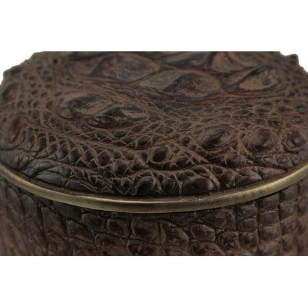 Beautiful Brown Alligator Skin Texture Round Trinket Box - image 2 de 3