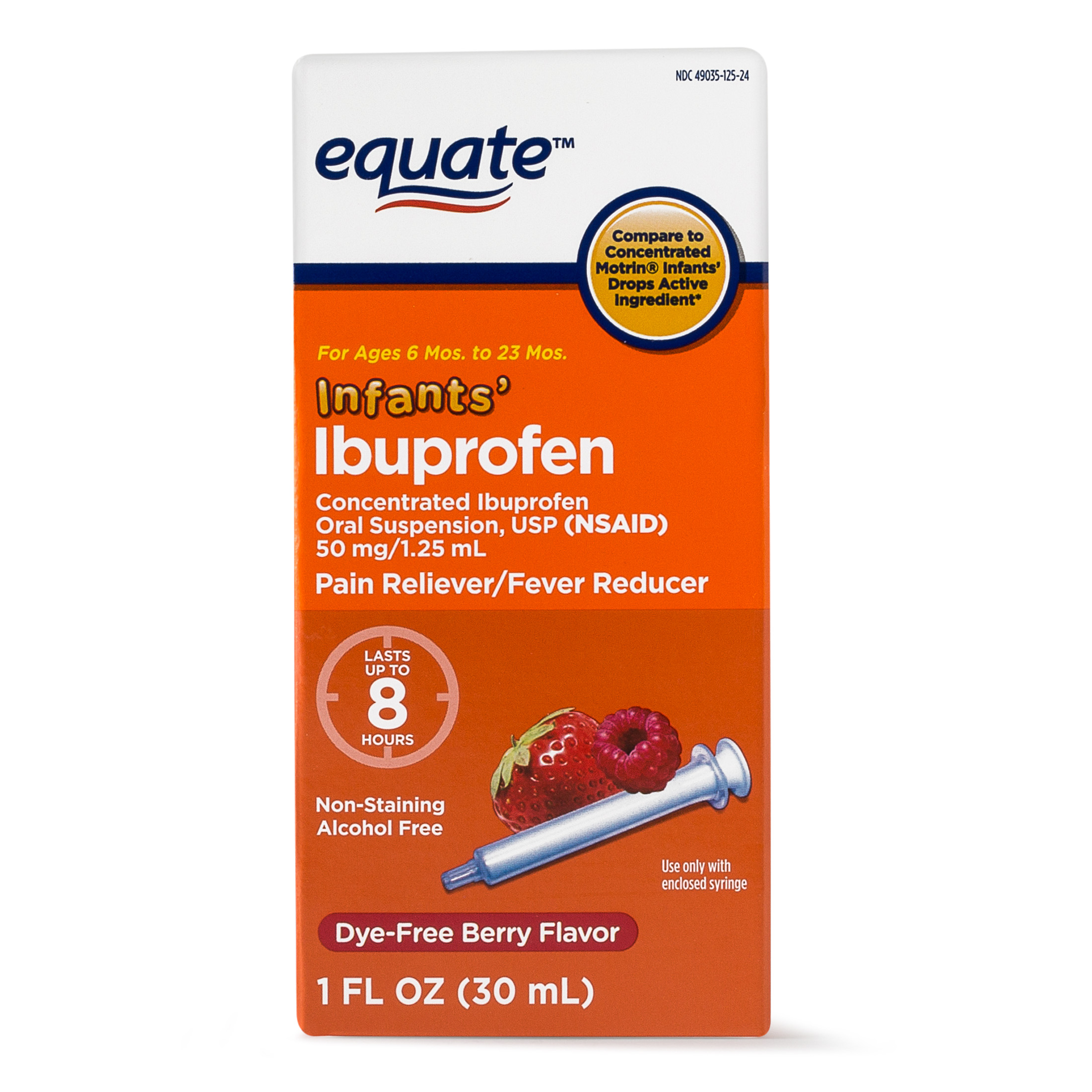 Equate Infants Concentrated Ibuprofen Berry Suspension, 50 mg, 1 Oz