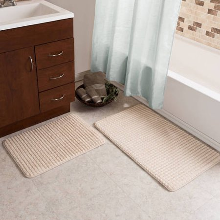 Dover 2 Light Bath (2 pc Memory Foam Bath Mat Set by Somerset Home - Woven Jacquard Fleece -)