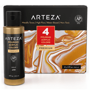 Arteza Acrylic Pouring Paint Set, 4 oz Bottles, Set of 4 Metallic Colors