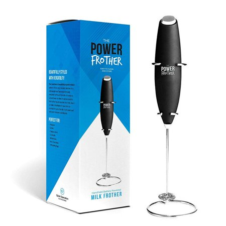 Power Frother - Ultra Durable Handheld Milk Frother | Electric, Battery Operated for Coffee, Protein, Collagen, Pre-Workout, Greens Powder, Matcha, Keto Coffee | Quiet & High Powered | Stand