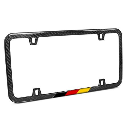 Real Black Carbon Fiber German Flag in Sports Stripe Slim License Plate (Carbon Servo Plate)