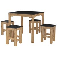 "5-Piece Stillwell 31.5"" Square Dining Set  in Black and Natural Wood"
