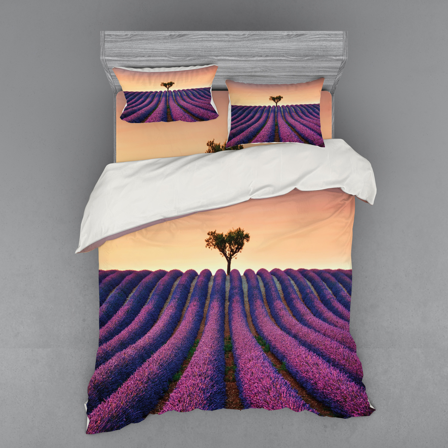 Tree Duvet Cover Set Lavender Flowers Blooming Field And A Tree Uphill On Sunset Valensole France Print Bedding Set With Shams And Fitted Sheet 3 Sizes By Ambesonne Walmart Com Walmart Com