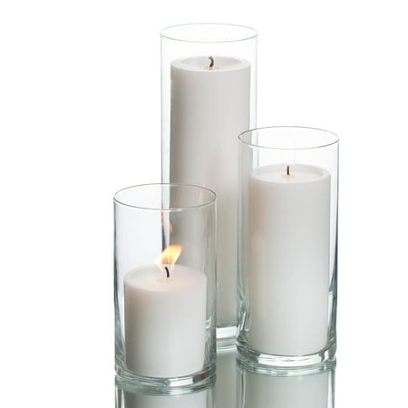 Richland Pillar Candles & Eastland Cylinder Vase Holders White Set of 3 Base Pillar Candle Holder