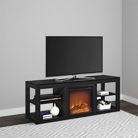 Brilliant Ameriwood Home Parsons Electric Fireplace Tv Stand For Tvs Up To 65 Black Interior Design Ideas Gentotthenellocom