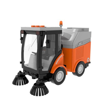 Push-and-Go Friction Powered Car Toys for Motor Skills, Hand-Eye Coordination, Imaginative Fun w/ Street Sweeper Truck F-24