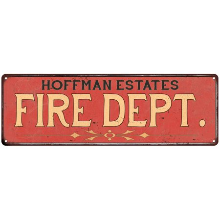 (HOFFMAN ESTATES FIRE DEPT. Vintage Look Metal Sign Chic Decor Retro 6184953)