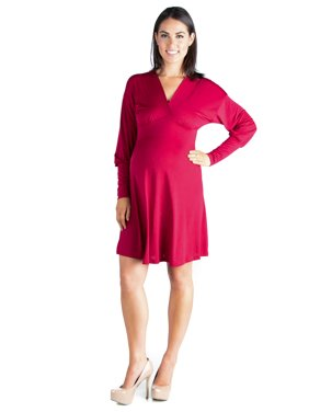504e13c7 Product Image Women's Maternity Drop Shoulder Cuffed Long Sleeve V Neck  Knee Length Dress