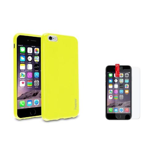 Insten Yellow Jelly TPU Gel Skin Case+Anti Glare Protector For Apple iPhone 6S Plus 6 Plus 5.5""