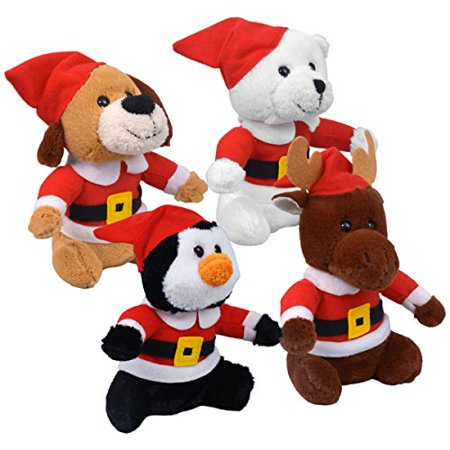 Bundle 4 Items - Plush Cuddly Plush Christmas Friends Puppy, Bear, Penguin and Reindeer