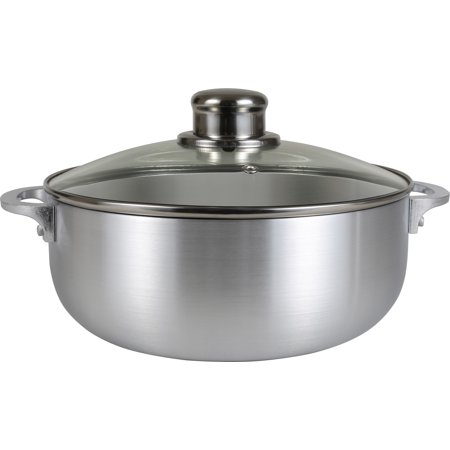 Tribeca Polished Steel - Kitchen Sense Polished Aluminum Caldero Dutch Oven Cauldron with Glass Lid, and Stainless Steel Knobs, 3.7 Quart