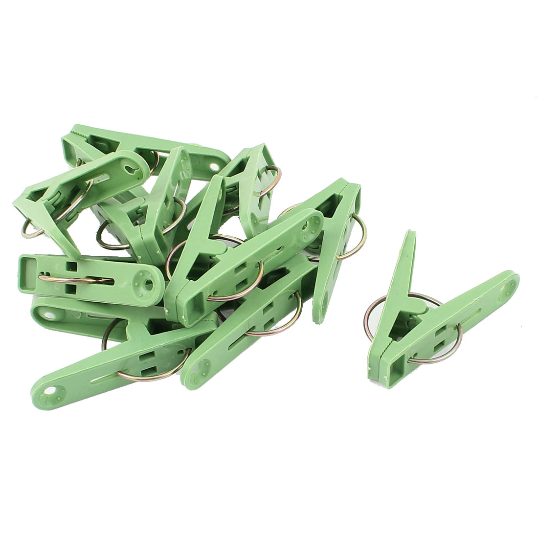 10 Pcs Household Plastic Nonslip Multipurpose Clothing Clothespins Clips Green