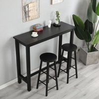 Harper & Bright Designs 3-Piece Dining Set Wood and Metal Pub Table with 2 Bar Stools