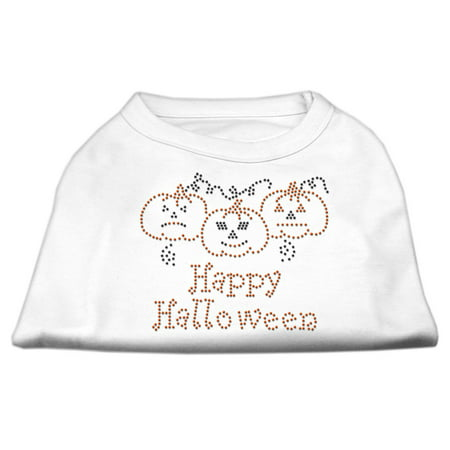 Happy Halloween L (Happy Halloween Rhinestone Shirts White L)