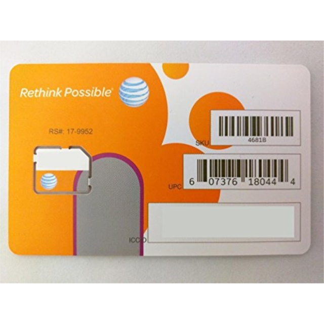 AT&T SIM Card, Compatible with Prepaid (GoPhone) and Postpaid AT&T Cellular Service (Micro)