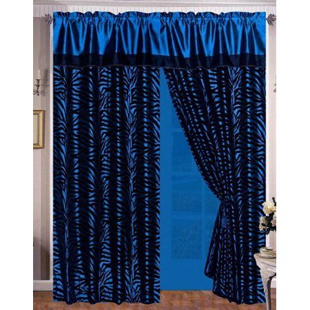 Navy Blue & Black Zebra Flocking Curtain Window Panels 8-piece SET With Attached Sheer & Valance Tie Back Animal Print Navy Blue Blank