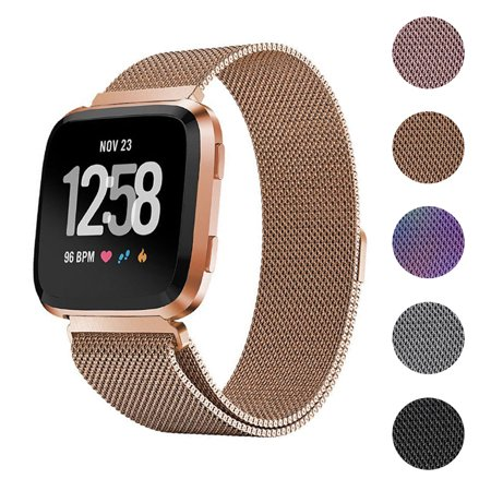 Eta Watch Parts - EEEKit Stainless Steel Large Loop Strap Wrist Band for Fitbit Versa & Fitbit Versa Lite Fitness Watch, Replacement Metal Bracelet Wristbands for Women Men