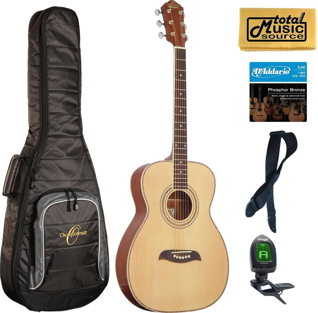 Oscar Schmidt Folk Style Acoustic Guitar, Select Spruce Top, Natural Finish, OF2 Bag Bundle, OF2 BAGPACK