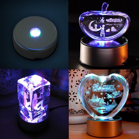 Garosa LED Colorful Light Rotating Crystal Display Base Stand Holder with AC US Adapter Silver - image 4 de 7