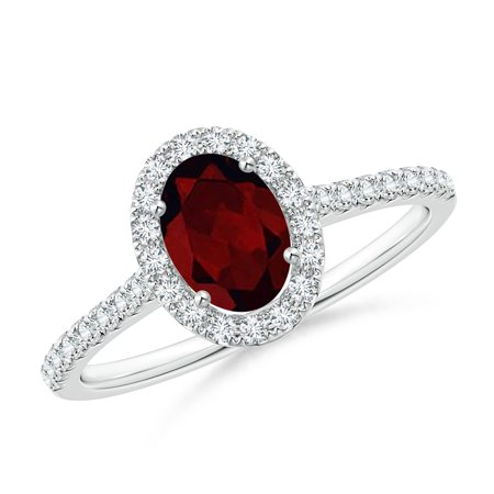 Valentine Jewelry Gift - Oval Garnet Halo Ring with Diamond Accents in Platinum (7x5mm Garnet) - SR0955GD-PT-A-7x5-8.5