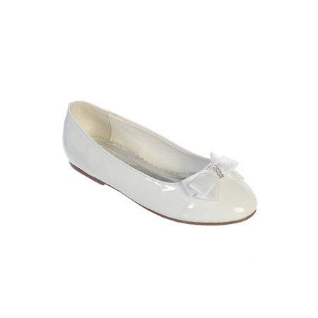 White Leather Rhinestone - Girls White Leather Satin Rhinestone Center Bow Accent Patent Flats