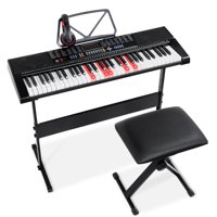 Best Choice Products 61-Key Electronic Keyboard w/ Light-Up Keys, 3 Teaching Modes, H-Stand, Stool, Headphones - Black