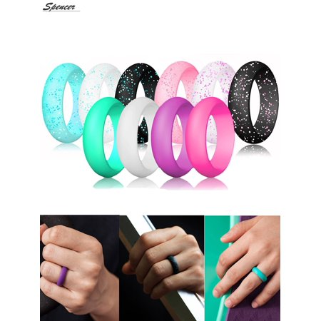 Spencer 10 Pcs Rings Pack Silicone Wedding Rings for Women, Thin and Stackable Durable Rubber Band for Love, Couple, Souvenir and Outdoor Active Exercise - 5.5mm Width