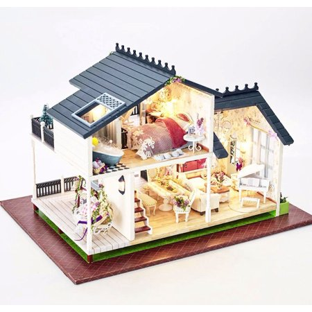 Moaere DIY Dollhouse Wooden Miniature Furniture Kit Mini  House Craft with Voice-activated LED and Cover Best Gifts for