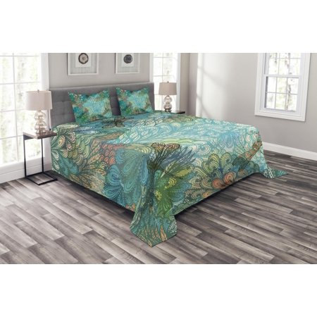 Dragonfly Bedspread Set, Fantasy Flowers Mixed in Various Tones Shabby Chic Feminine Beauty Print, Decorative Quilted Coverlet Set with Pillow Shams Included, Turquoise Amber, by