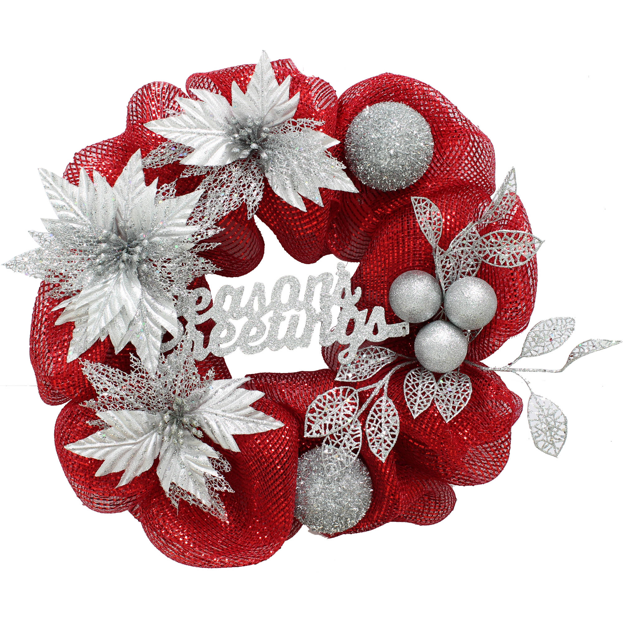 THE WINNER ELECTRONIC & TOY CO.,LTD Holiday Time Christmas Decor Red  /  Silver 20 Wreath