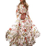 Wallarenear Womens Boho Flower Long Dress