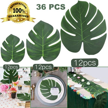 Coolmade 36Pcs Tropical Palm Leaves Plant Imitation Artificial Leaf Hawaiian Luau Party Jungle Beach Theme BBQ Birthday Party Table Decorations (12 Small +12 Middle+ 12 Large) 3 Sizes